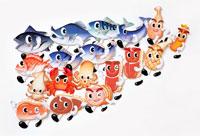 魚介類のキャラクターの集合