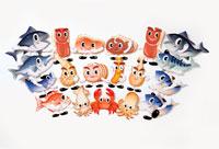 魚介類のキャラクターの集合 22497000190| 写真素材・ストックフォト・画像・イラスト素材|アマナイメージズ