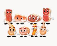 肉類のキャラクターの集合