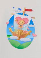 船に乗るハートを抱えた太陽のキャラクター 22497000292| 写真素材・ストックフォト・画像・イラスト素材|アマナイメージズ