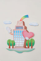 ハートを抱えた建物のキャラクター