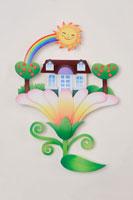 虹と太陽と花の上の家