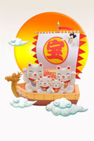 飛行宝船と招き猫の4匹親子と朝日