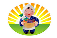 野菜の入った籠を持つ農婦 22497000419A  写真素材・ストックフォト・画像・イラスト素材 アマナイメージズ