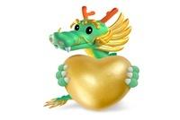 大きな金のハートを持つ龍