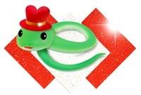 紅白和紙と巳文字のヘビ