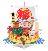 猿の獅子舞と宝船 22497000713  写真素材・ストックフォト・画像・イラスト素材 アマナイメージズ