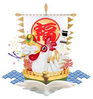 小槌と金の卵を持つニワトリの宝船