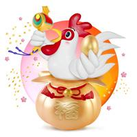 福袋の上で金の小槌と卵を持つニワトリ