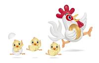 金の卵を持って走るニワトリとヒヨコ