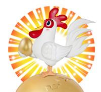 地球の上で金の卵を持つニワトリ