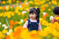 お花畑で遊ぶ女の子と男の子