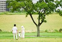 公園を歩く後ろ姿の家族