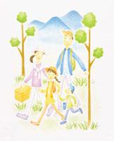 散策えをする家族イメージ イラスト