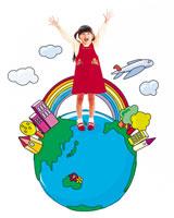 地球と女の子 22600001552| 写真素材・ストックフォト・画像・イラスト素材|アマナイメージズ