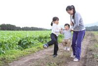 田園の畦道で遊ぶ母親と子供2人