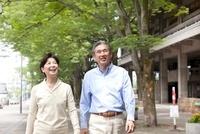 新緑の街を歩くシニア夫婦
