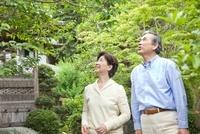 和庭園に佇むシニア夫婦