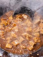麻婆豆腐と湯気