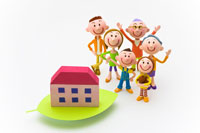 葉の上の住宅と家族