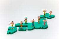 日本列島の上の子供達