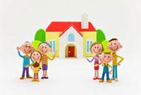 赤い屋根の家と三世代