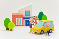 家と車と親子3人