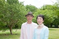 新緑の中のシニア夫婦