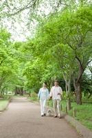 犬を連れて公園を散歩するシニア夫婦