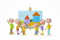 家族と家の絵 22748000930| 写真素材・ストックフォト・画像・イラスト素材|アマナイメージズ