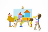 家族と犬と家の絵 22748000931| 写真素材・ストックフォト・画像・イラスト素材|アマナイメージズ