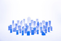 紙のビル群(ブルー) 22748001053| 写真素材・ストックフォト・画像・イラスト素材|アマナイメージズ