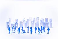 紙のビジネスマンとビル群(ブルー)