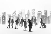 紙のビジネスマンとビル群 22748001056| 写真素材・ストックフォト・画像・イラスト素材|アマナイメージズ