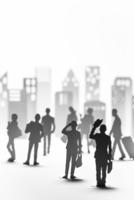 紙のビジネスマンとビル群 22748001058| 写真素材・ストックフォト・画像・イラスト素材|アマナイメージズ