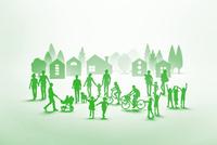 紙の人々と住宅街(グリーン) 22748001060| 写真素材・ストックフォト・画像・イラスト素材|アマナイメージズ