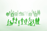 紙の人々と住宅街(グリーン) 22748001062| 写真素材・ストックフォト・画像・イラスト素材|アマナイメージズ