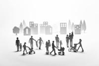 紙の人々と住宅街 22748001063| 写真素材・ストックフォト・画像・イラスト素材|アマナイメージズ