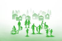 紙の人々と住宅街(グリーン) 22748001078| 写真素材・ストックフォト・画像・イラスト素材|アマナイメージズ