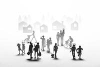 紙の人々と住宅街 22748001079| 写真素材・ストックフォト・画像・イラスト素材|アマナイメージズ