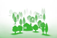 紙の住宅田園風景(グリーン)