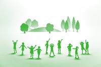 紙の子どもたちと木(グリーン)