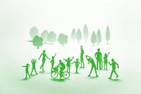 紙の人々と木(グリーン)