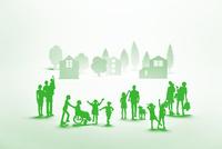 紙の人々と住宅(グリーン) 22748001092| 写真素材・ストックフォト・画像・イラスト素材|アマナイメージズ