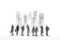 紙のビジネスマンとビル群 22748001106| 写真素材・ストックフォト・画像・イラスト素材|アマナイメージズ