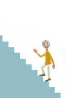 元気,階段,登る,初老女性
