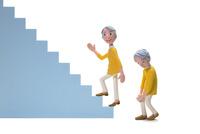 階段,登る,膝痛,初老女性