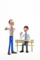 快活,話す,男性,ベンチ 22748001186| 写真素材・ストックフォト・画像・イラスト素材|アマナイメージズ