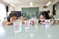 理科の実験の様子を見てる女の子