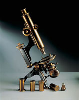 Close up of a petrographic microscope